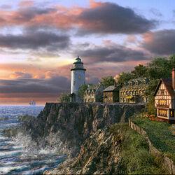 Пазл онлайн: Закат на маяке