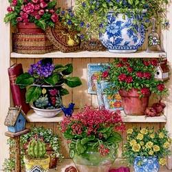 Пазл онлайн: Flower Cupboard / Цветочный шкаф