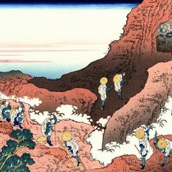Пазл онлайн: 36 видов Фудзи. Восхождение на гору