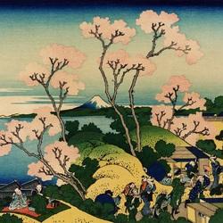Пазл онлайн: 36 видов Фудзи.Вид на Фудзи с горы Готэнъяма у реки Синагава