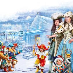 Пазл онлайн: Анна Иоанновна и Бирон инспектируют Ледяной дом