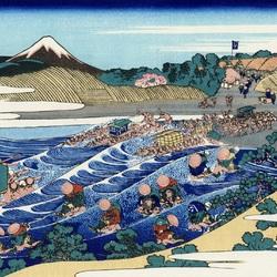 Пазл онлайн: 36 видов Фудзи. Вид на Фудзи из Каная, на дороге Токайдо