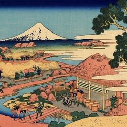 Пазл онлайн: 36 видов Фудзи.Вид Фудзи от чайных плантаций Катакура в провинции Цуруга