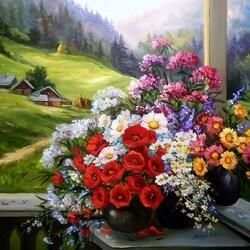 Пазл онлайн: Цветы на терассе