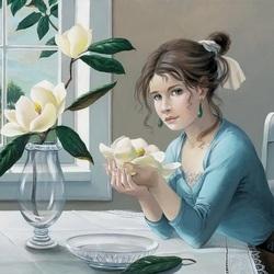 Пазл онлайн: Цветок в ладонях