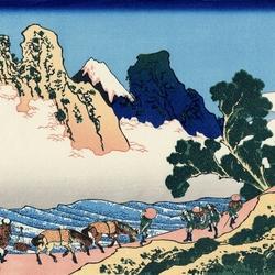 Пазл онлайн: 36 видов Фудзи. Обратная сторона Фудзи. Вид со стороны реки Минобугава