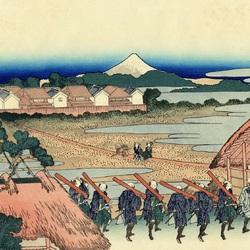 Пазл онлайн: 36 видов Фудзи. Вид на гору Фудзи из развлекательного квартала в Сэндзю