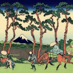 Пазл онлайн: 36 видов Фудзи. Район Ходогая, тракт Токайдо