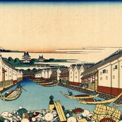 Пазл онлайн: 36 видов Фудзи. Мост Нихонбаси в Эдо