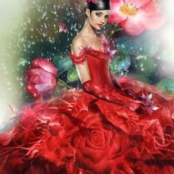 Пазл онлайн: Красная роза