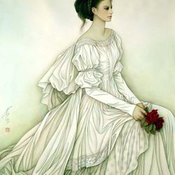 Пазл онлайн: Портрет девушки с алыми розами