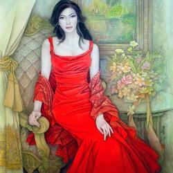 Пазл онлайн: Девушка в красном платье