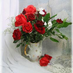 Пазл онлайн: С красными розами....