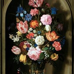 Пазл онлайн: Букет цветов в каменной нише