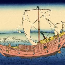 Пазл онлайн: 36 видов Фудзи. Морской путь в Кадзусу