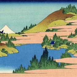 Пазл онлайн: 36 видов Фудзи. Озеро в Хаконе в провинции Сосю