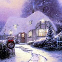 Пазл онлайн: Рождественский коттедж 1990