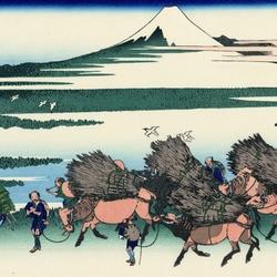 Пазл онлайн: 36 видов Фудзи. Оносиндэн в провинции Сунсю