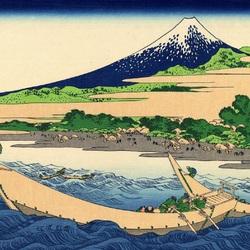Пазл онлайн: 36 видов Фудзи. Изображение пляжа Тагоноура в Эдзири, тракт Токайдо