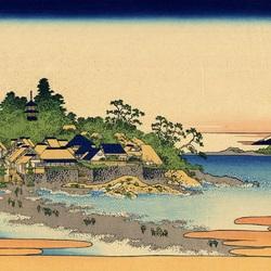 Пазл онлайн: 36 видов Фудзи. Остров Эносима в провинции Сосю
