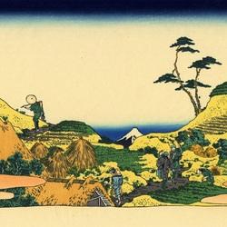 Пазл онлайн: 36 видов Фудзи. Низовье реки Мэгуро