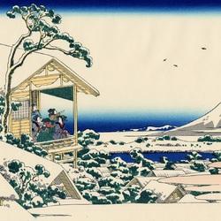 Пазл онлайн: 36 видов Фудзи. Снежное утро на реке Коисикава