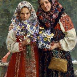 Пазл онлайн: Девушки в русских сарафанах
