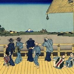 Пазл онлайн: 36 видов Фудзи. Садзаэ-до, один из 500 храмов Раккандзи