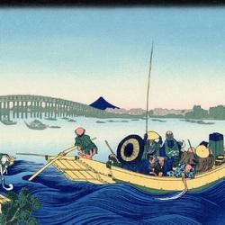 Пазл онлайн: 36 видов Фудзи. Ночной вид на мост Рёгокубаси с берега реки Оммаяга