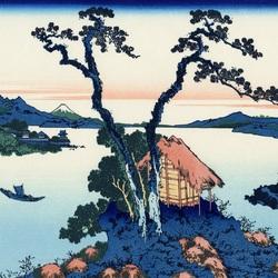 Пазл онлайн: 36 видов Фудзи. Озеро Сувако в Синсю
