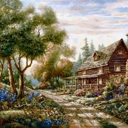 Пазл онлайн: Деревянный домик у дороги