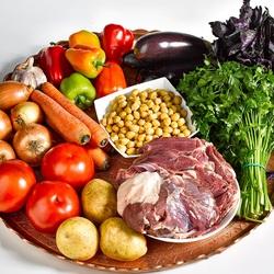 Пазл онлайн: Овощи и мясо