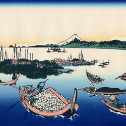 Пазл онлайн: 36 видов Фудзи. Остров Цукудадзима в Буё