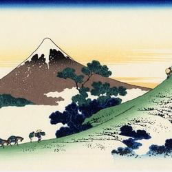 Пазл онлайн: 36 видов Фудзи. Горный перевал в Косю