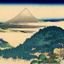 Пазл онлайн: 36 видов Фудзи. Кривая сосна в Аояме