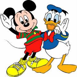 Пазл онлайн: Микки Маус и Дональд Дак