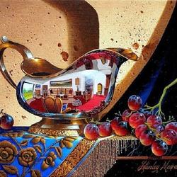 Пазл онлайн: Натюрморт с веткой винограда