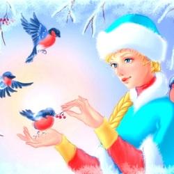Пазл онлайн: Снегири и снегурочка