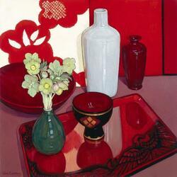Пазл онлайн: Натюрморт с красным подносом и вазами