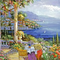 Пазл онлайн: Цветы и море