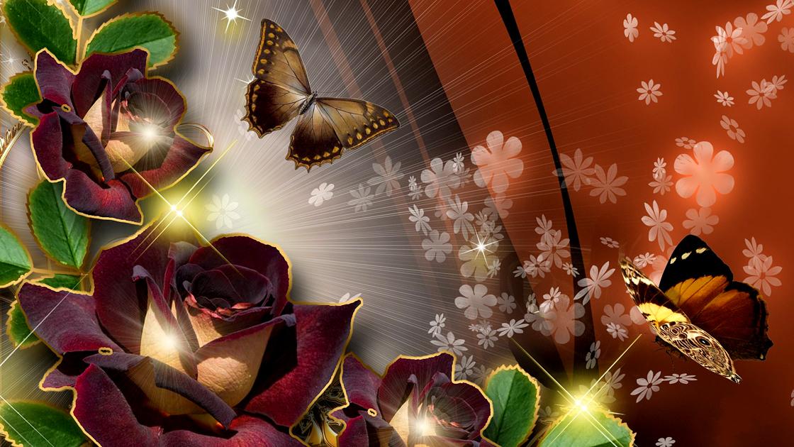 Картинка цветы бабочки с анимацией, юбилеем открытка старый
