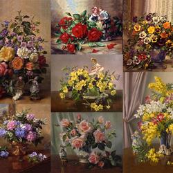 Пазл онлайн: Цветы и фарфоровая миниатюра