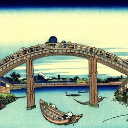 Пазл онлайн: 36 видов Фудзи. Мост Маннэн в Фукугаве