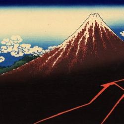 Пазл онлайн: 36 видов Фудзи.Внезапный дождь под горой