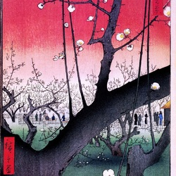 Пазл онлайн: 100 известных видов Эдо. Лист № 30. Сливовый сад в Камэйдо
