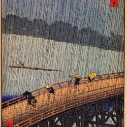 Пазл онлайн: 100 известных видов Эдо. № 52. Вечерний дождь в Атаке на Великом мосту