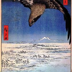 Пазл онлайн: 100 известных видов Эдо. Лист № 107. Сусаки и полет Дзюман-цубо около Фугакавы