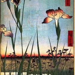 Пазл онлайн: 100 известных видов Эдо. Лист № 56. Ирисы в Хорикири