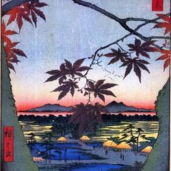 Пазл онлайн: 100 известных видов Эдо. Лист №94. Кленовые листья и храм и мост Текона в Мама