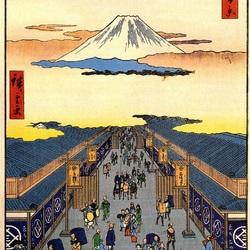Пазл онлайн: 100 известных видов Эдо. Лист №8. Улица Суругачо